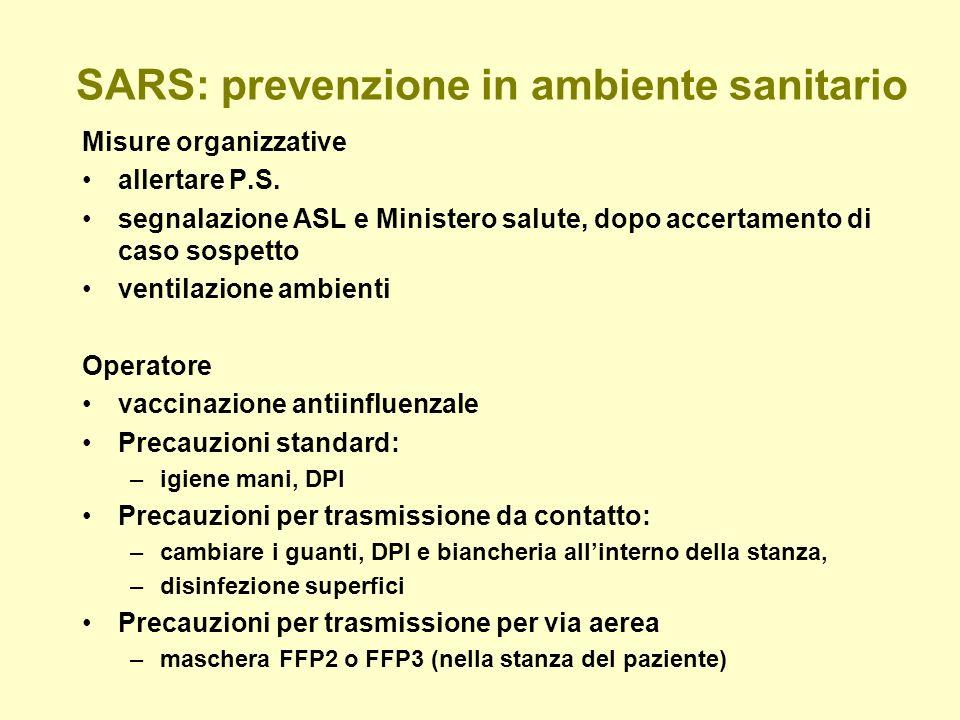 SARS: prevenzione in ambiente sanitario Misure organizzative allertare P.S.