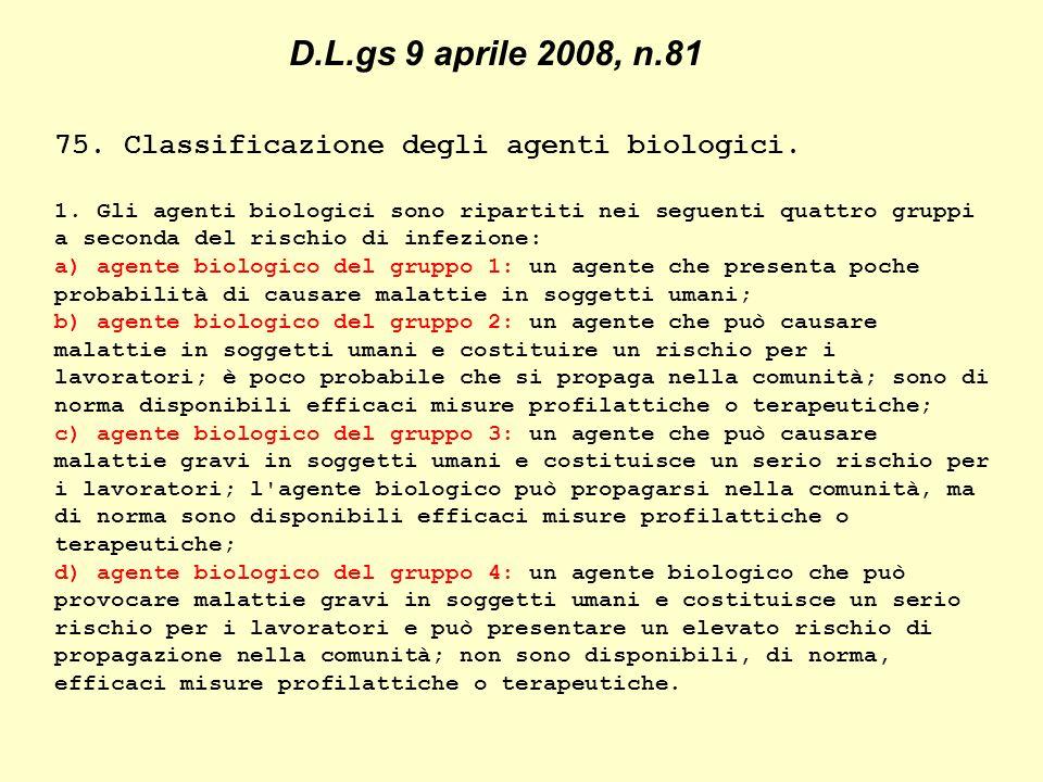 75. Classificazione degli agenti biologici. 1.