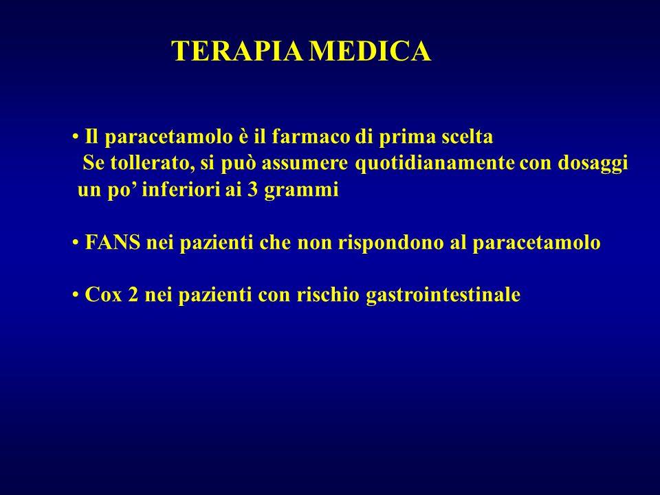 TERAPIA MEDICA Il paracetamolo è il farmaco di prima scelta Se tollerato, si può assumere quotidianamente con dosaggi un po inferiori ai 3 grammi FANS