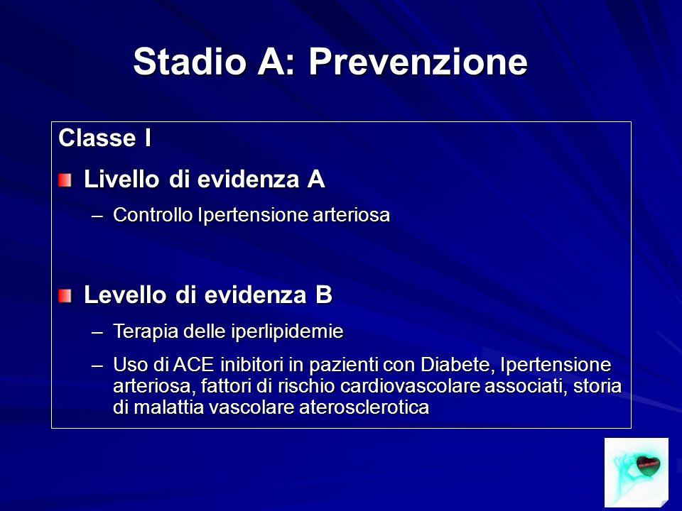 Stadio A: Prevenzione Classe I Livello di evidenza A –Controllo Ipertensione arteriosa Levello di evidenza B –Terapia delle iperlipidemie –Uso di ACE