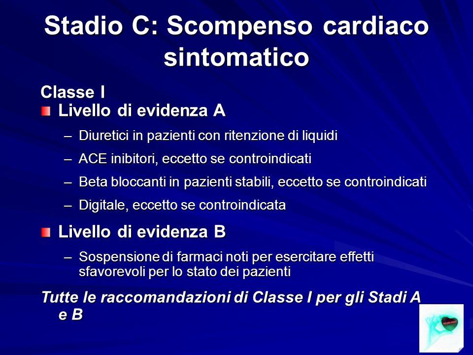 Stadio C: Scompenso cardiaco sintomatico Classe I Livello di evidenza A –Diuretici in pazienti con ritenzione di liquidi –ACE inibitori, eccetto se co