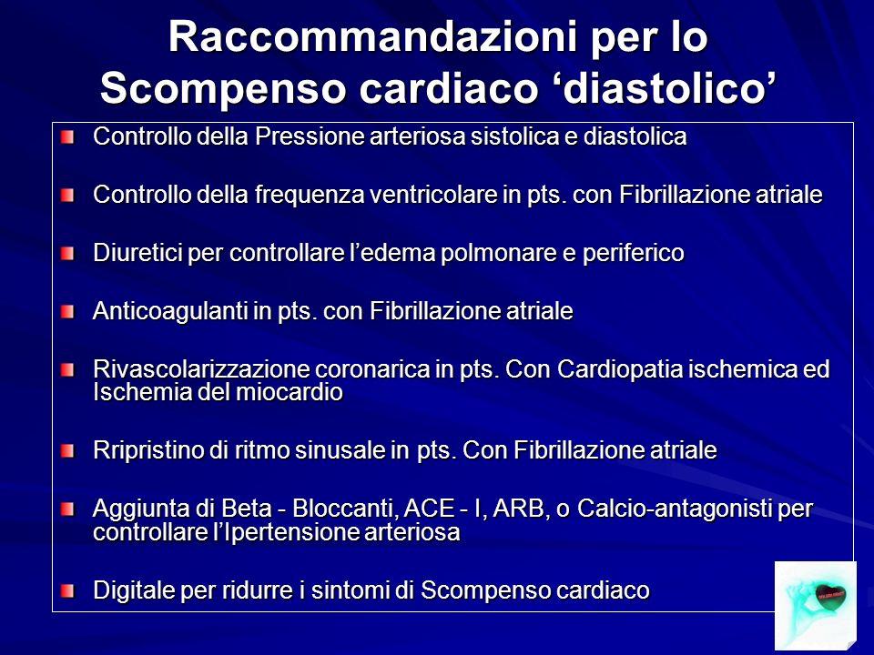 Raccommandazioni per lo Scompenso cardiaco diastolico Controllo della Pressione arteriosa sistolica e diastolica Controllo della frequenza ventricolar