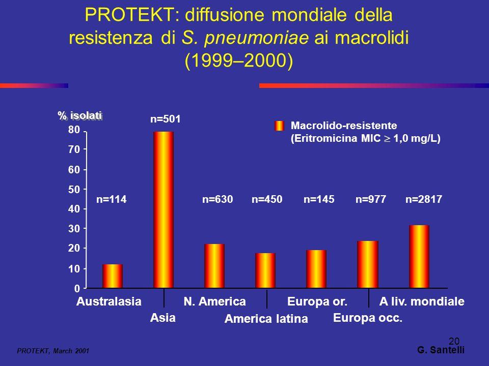 20 PROTEKT: diffusione mondiale della resistenza di S. pneumoniae ai macrolidi (1999–2000) PROTEKT, March 2001 % isolati Macrolido-resistente (Eritrom