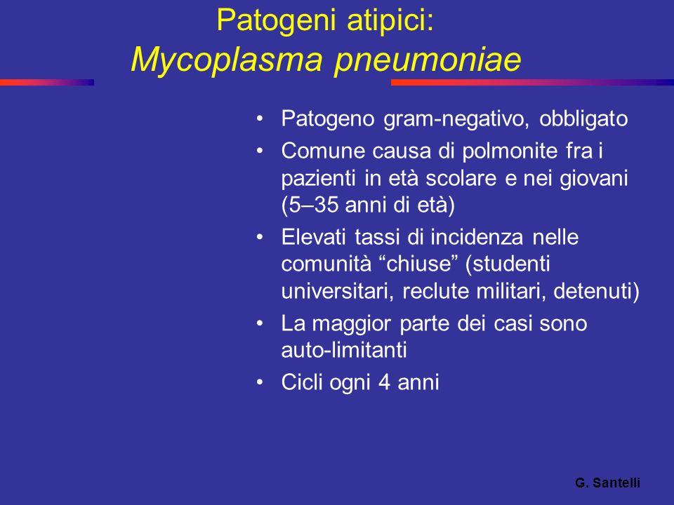 Patogeni atipici: Mycoplasma pneumoniae Patogeno gram-negativo, obbligato Comune causa di polmonite fra i pazienti in età scolare e nei giovani (5–35