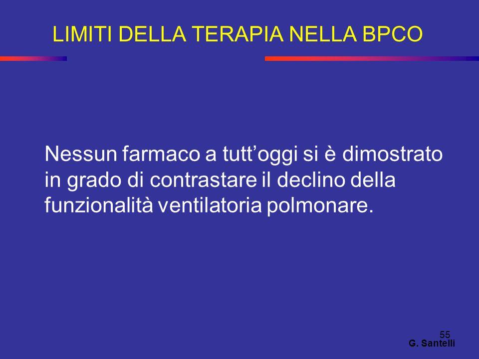 55 LIMITI DELLA TERAPIA NELLA BPCO G. Santelli Nessun farmaco a tuttoggi si è dimostrato in grado di contrastare il declino della funzionalità ventila