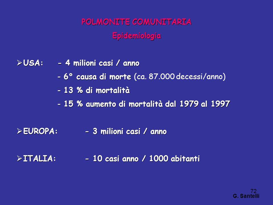72 POLMONITE COMUNITARIA Epidemiologia USA:- 4 milioni casi / anno USA:- 4 milioni casi / anno - 6° causa di morte - 6° causa di morte (ca. 87.000 dec