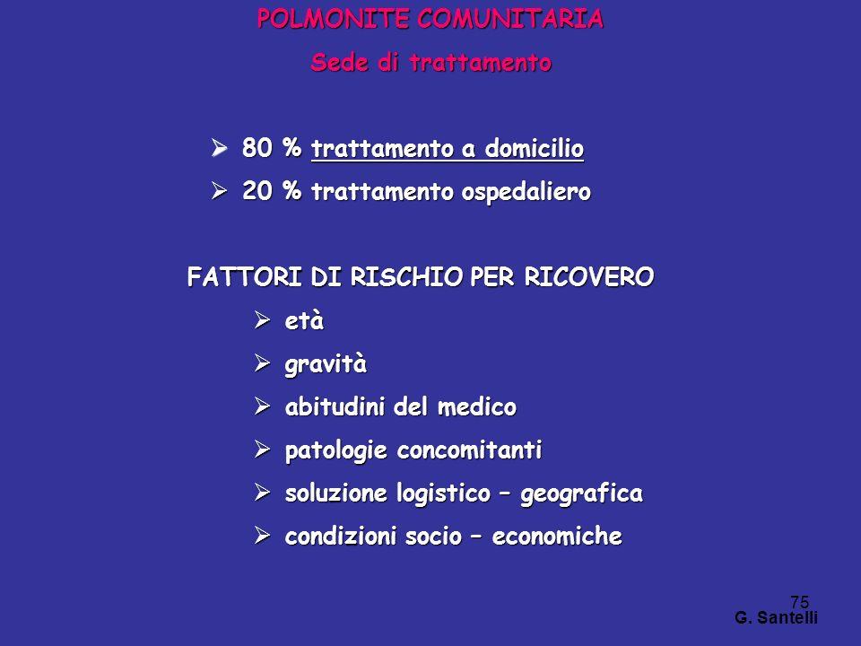 75 POLMONITE COMUNITARIA Sede di trattamento 80 % trattamento a domicilio 80 % trattamento a domicilio 20 % trattamento ospedaliero 20 % trattamento o