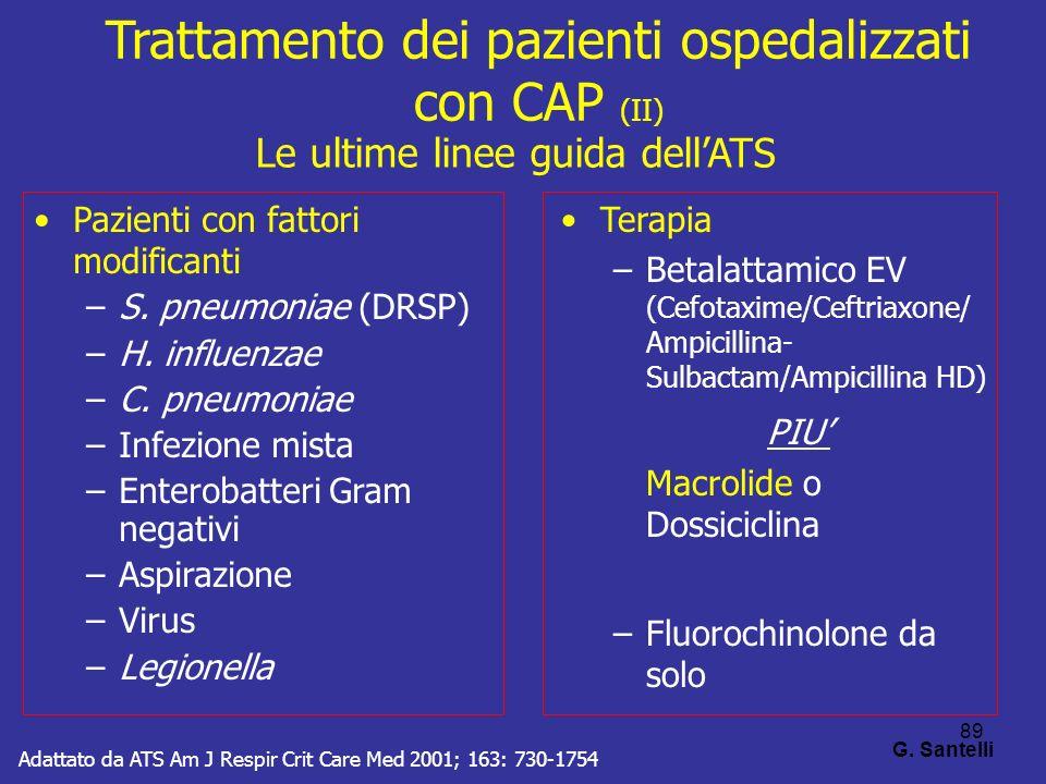 89 G. Santelli Pazienti con fattori modificanti –S. pneumoniae (DRSP) –H. influenzae –C. pneumoniae –Infezione mista –Enterobatteri Gram negativi –Asp