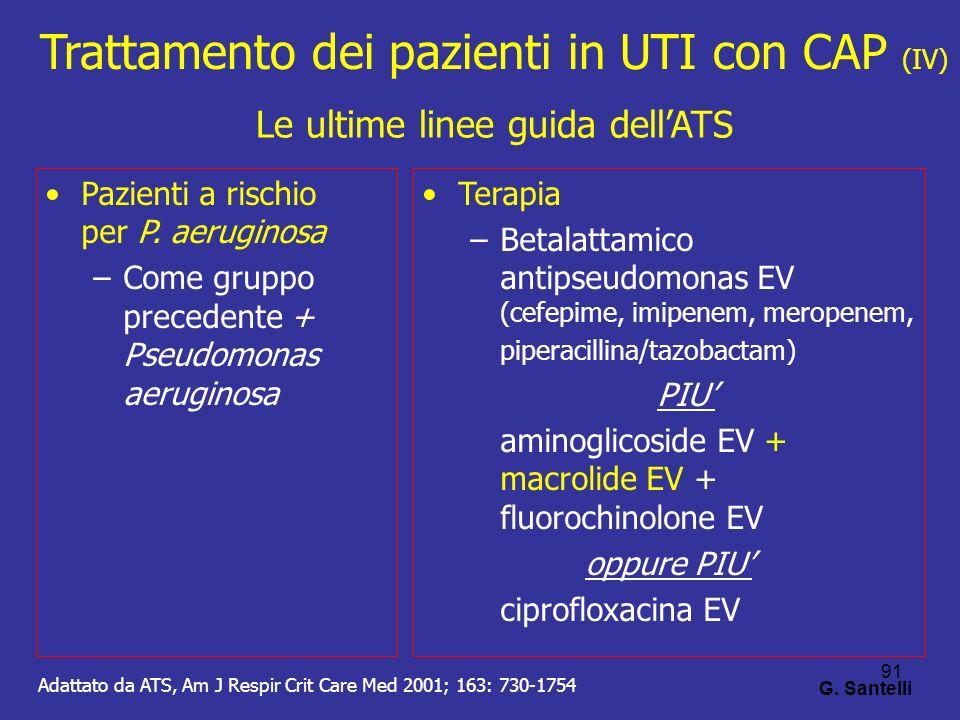 91 G. Santelli Pazienti a rischio per P. aeruginosa –Come gruppo precedente + Pseudomonas aeruginosa Terapia –Betalattamico antipseudomonas EV (cefepi