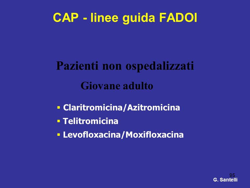 95 CAP - linee guida FADOI Claritromicina/Azitromicina Telitromicina Levofloxacina/Moxifloxacina Pazienti non ospedalizzati Giovane adulto G. Santelli