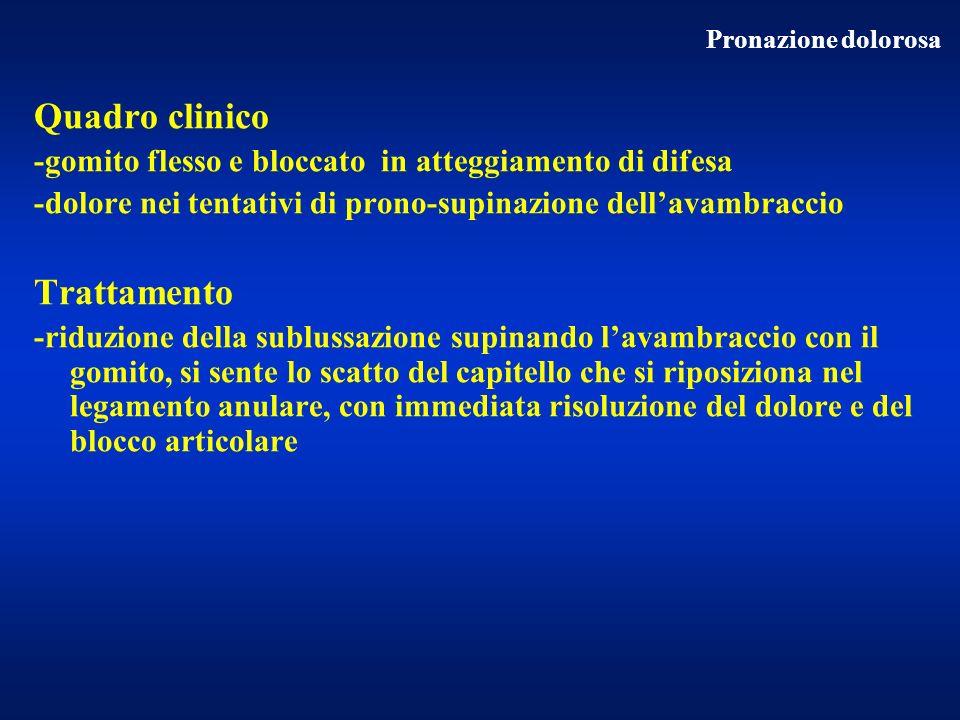 Quadro clinico -gomito flesso e bloccato in atteggiamento di difesa -dolore nei tentativi di prono-supinazione dellavambraccio Trattamento -riduzione