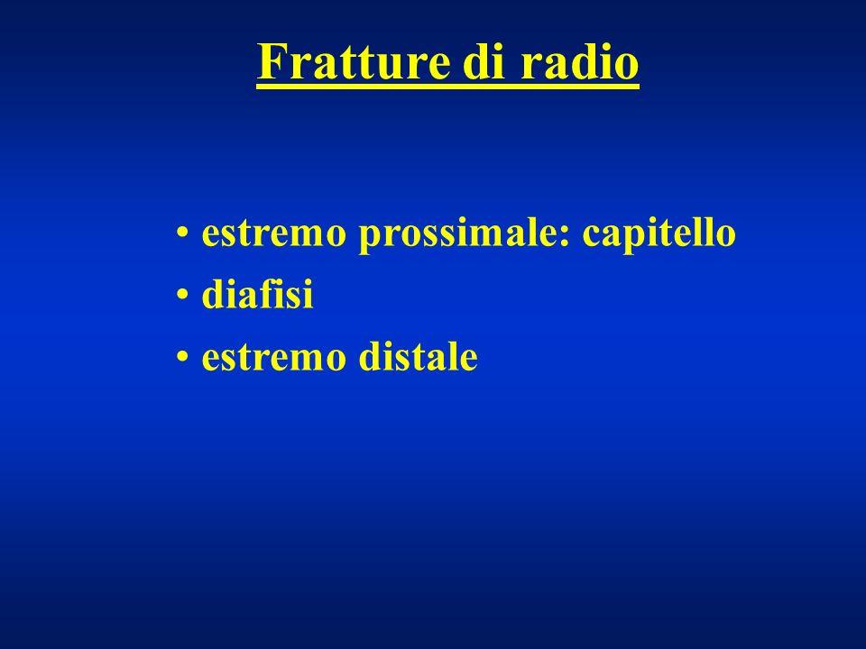 Fratture di radio estremo prossimale: capitello diafisi estremo distale
