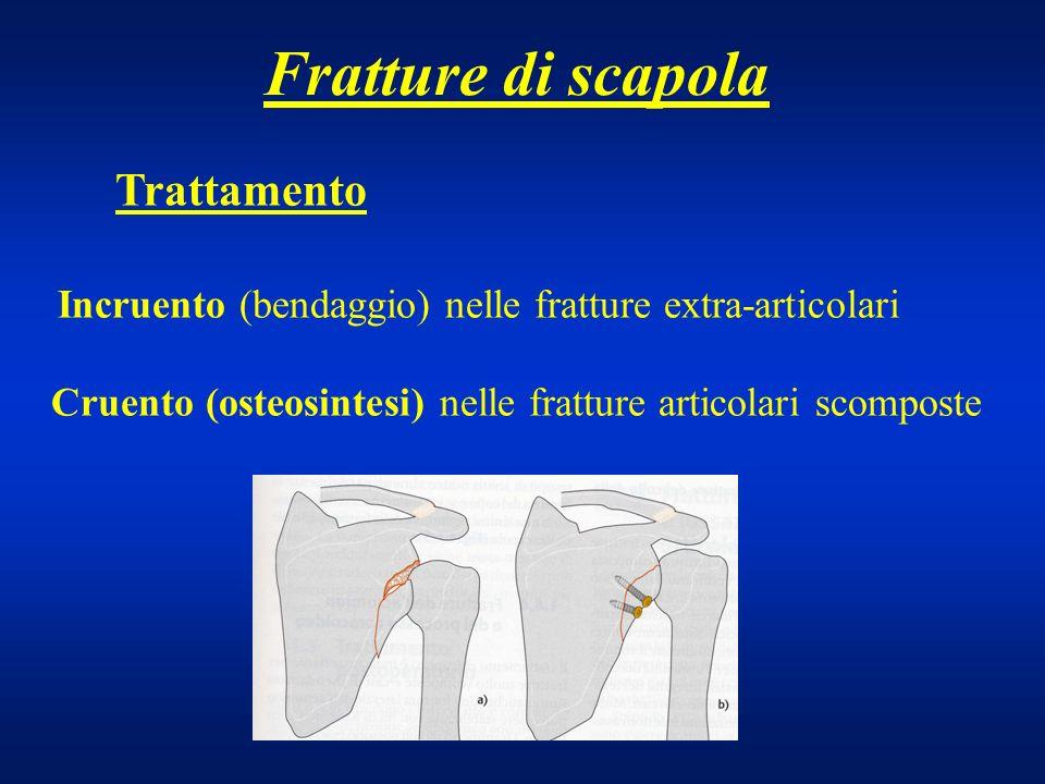 Fratture di scapola Trattamento Incruento (bendaggio) nelle fratture extra-articolari Cruento (osteosintesi) nelle fratture articolari scomposte