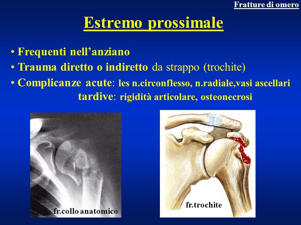 Fratture di omero Estremo prossimale Frequenti nellanziano Trauma diretto o indiretto da strappo (trochite) Complicanze acute: les n.circonflesso, n.r