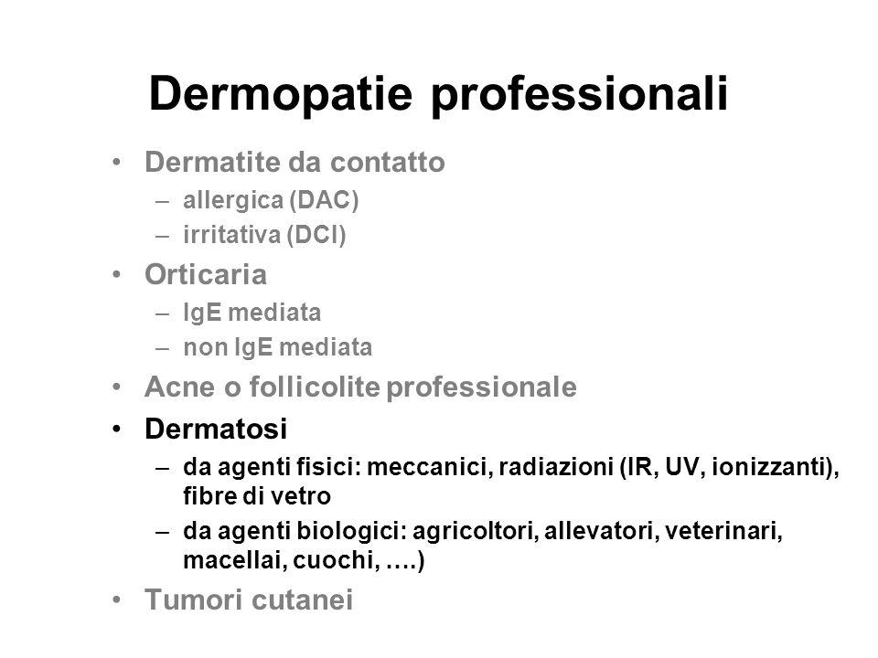 Dermopatie professionali Dermatite da contatto –allergica (DAC) –irritativa (DCI) Orticaria –IgE mediata –non IgE mediata Acne o follicolite professio