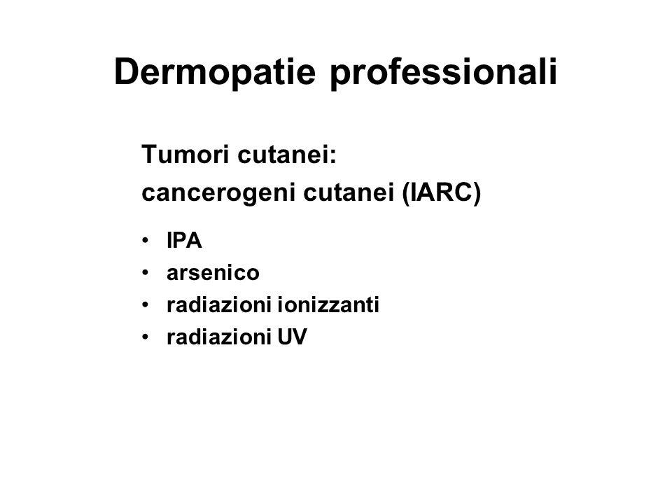 Dermopatie professionali Tumori cutanei: cancerogeni cutanei (IARC) IPA arsenico radiazioni ionizzanti radiazioni UV