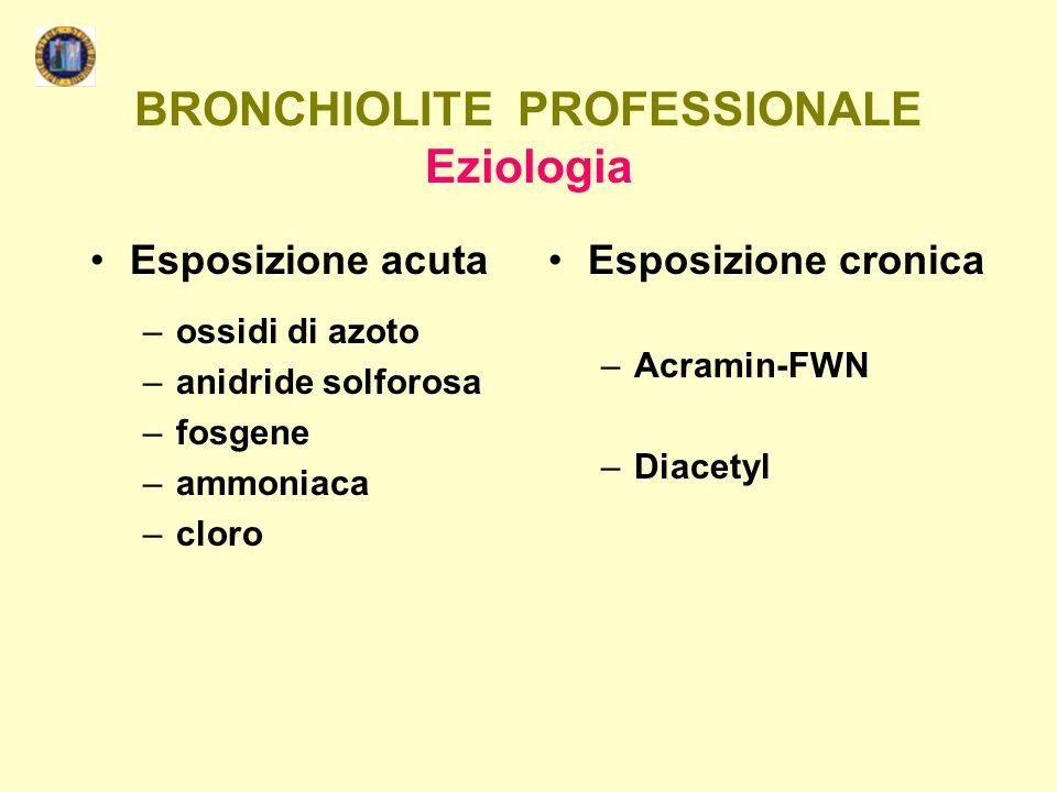 BRONCHIOLITE PROFESSIONALE Eziologia Esposizione acuta –ossidi di azoto –anidride solforosa –fosgene –ammoniaca –cloro Esposizione cronica –Acramin-FW