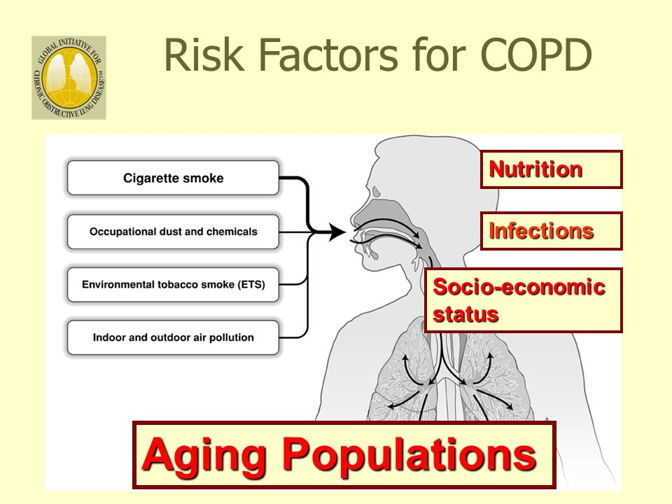 33 Risk Factors for COPD Nutrition Infections Socio-economic status Aging Populations