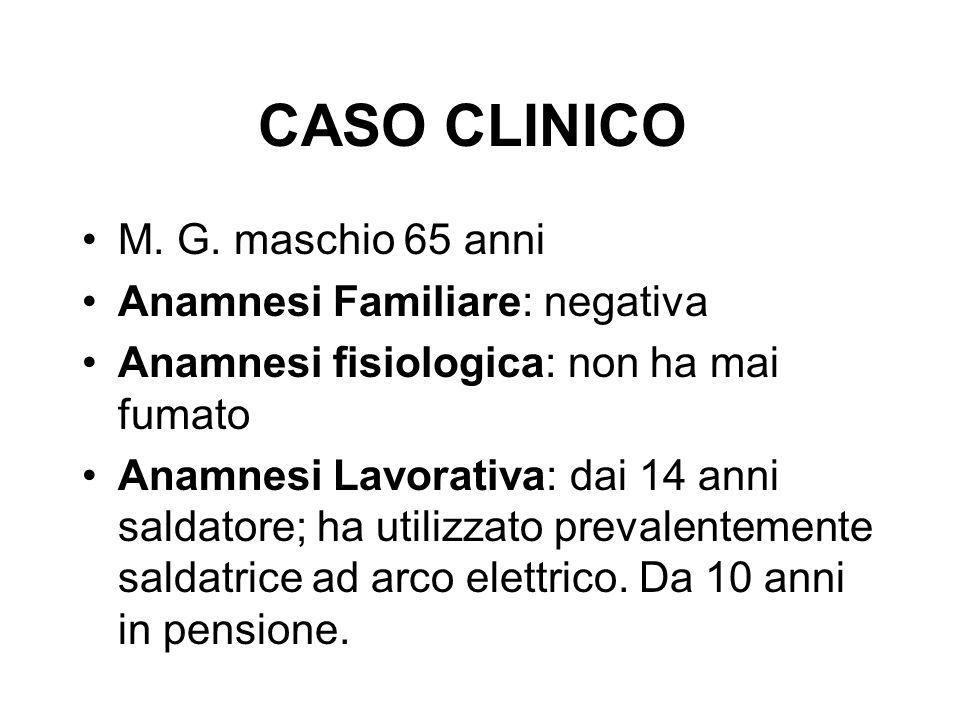 CASO CLINICO M. G. maschio 65 anni Anamnesi Familiare: negativa Anamnesi fisiologica: non ha mai fumato Anamnesi Lavorativa: dai 14 anni saldatore; ha
