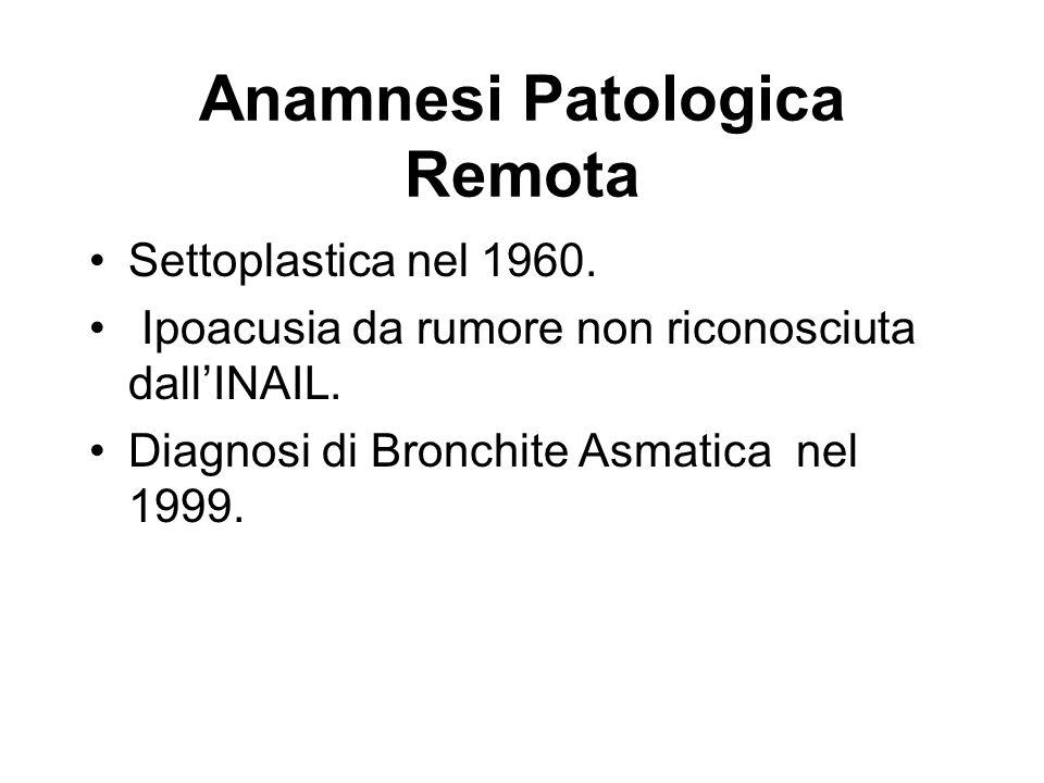 Anamnesi Patologica Remota Settoplastica nel 1960. Ipoacusia da rumore non riconosciuta dallINAIL. Diagnosi di Bronchite Asmatica nel 1999.