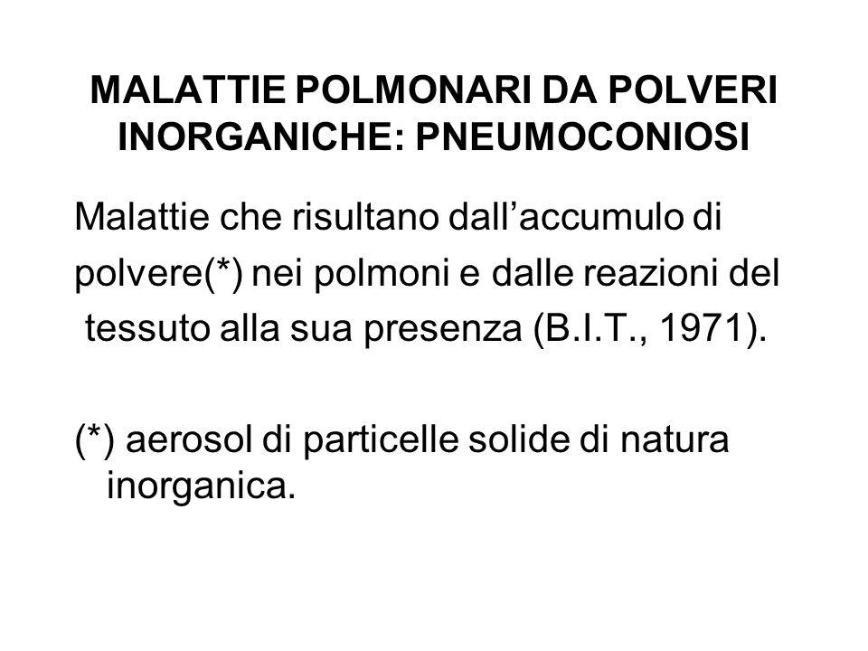 PNEUMOCONIOSI Deposizione delle polveri: - diametro - ventilazione Meccanismi di difesa polmonare: - filtro nasale - tosse, broncospasmo - clearance mucociliare (rapida, 24h) - macrofagi (lenta, ~30 mesi)