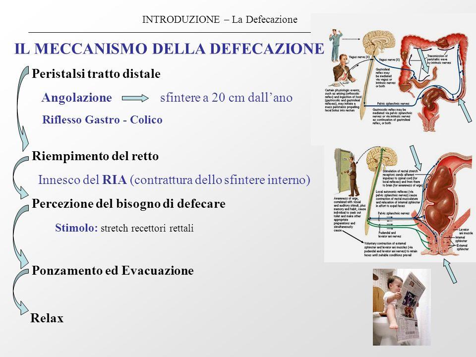 INTRODUZIONE – La Defecazione IL MECCANISMO DELLA DEFECAZIONE Peristalsi tratto distale Angolazione sfintere a 20 cm dallano Riflesso Gastro - Colico