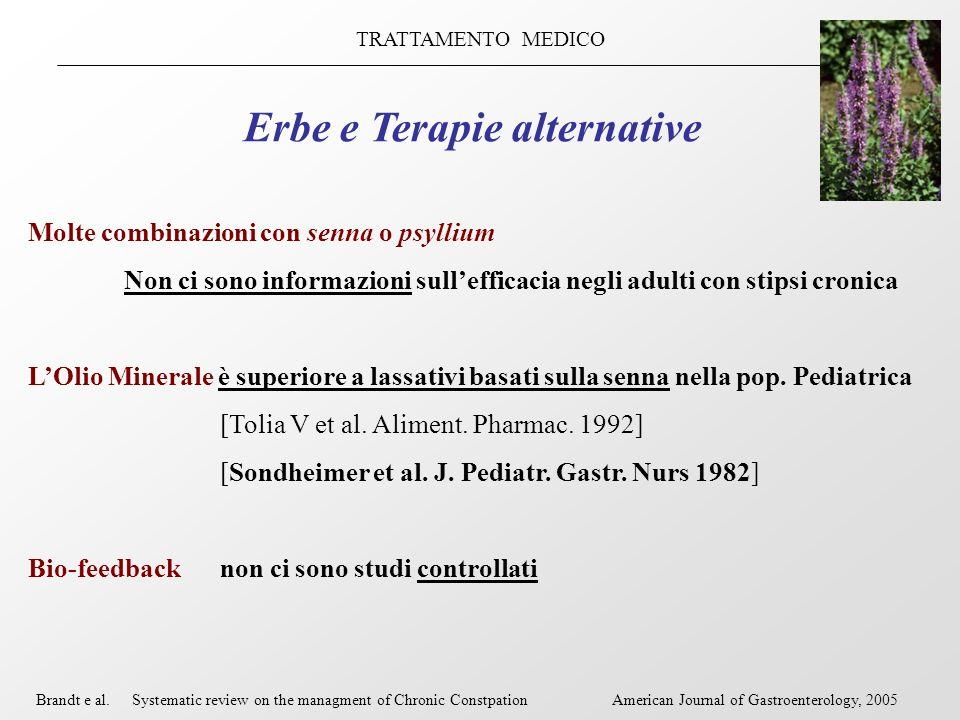 TRATTAMENTO MEDICO Erbe e Terapie alternative Molte combinazioni con senna o psyllium Non ci sono informazioni sullefficacia negli adulti con stipsi c