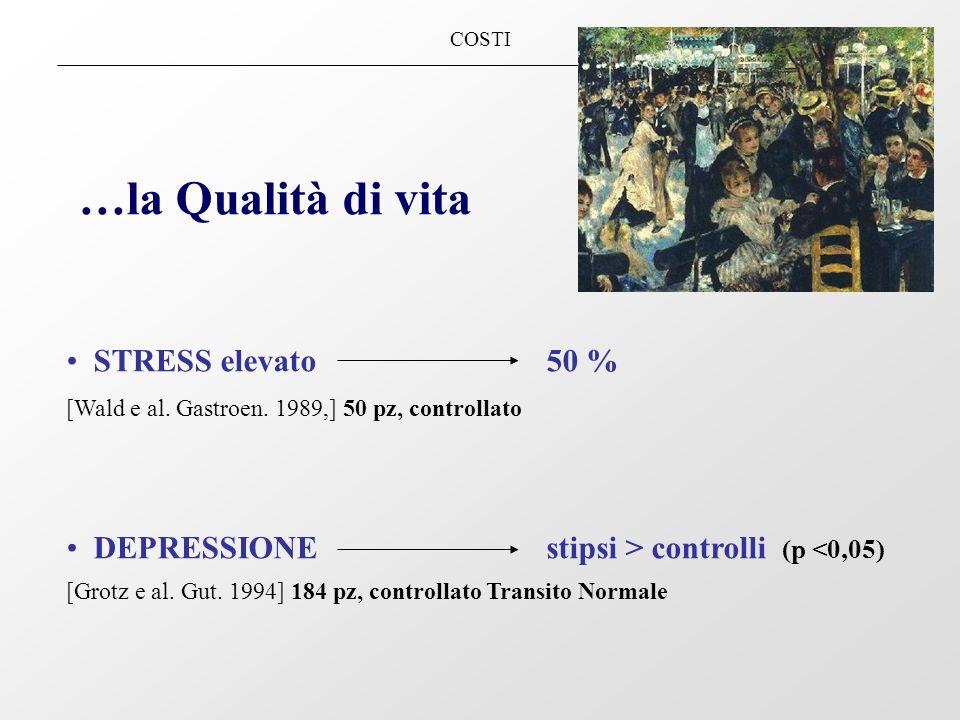 COSTI …la Qualità di vita STRESS elevato 50 % [Wald e al. Gastroen. 1989,] 50 pz, controllato DEPRESSIONEstipsi > controlli (p <0,05) [Grotz e al. Gut