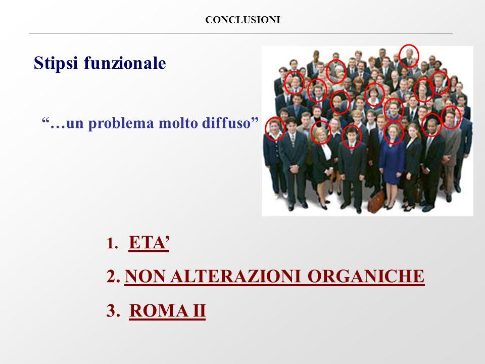CONCLUSIONI Stipsi funzionale …un problema molto diffuso 1. ETA 2.NON ALTERAZIONI ORGANICHE 3. ROMA II