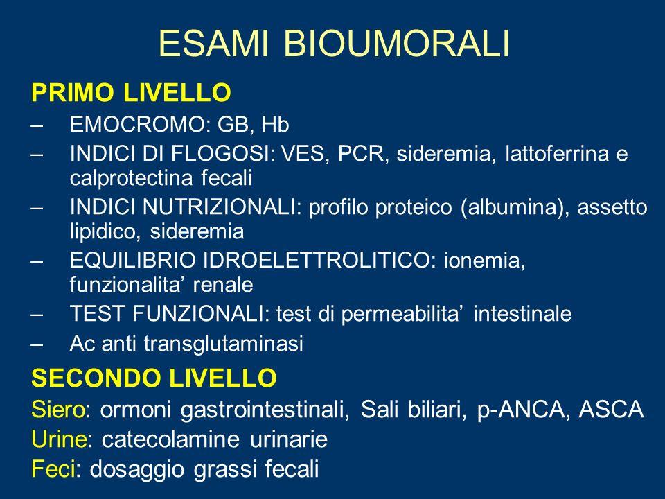 ESAMI BIOUMORALI PRIMO LIVELLO –EMOCROMO: GB, Hb –INDICI DI FLOGOSI: VES, PCR, sideremia, lattoferrina e calprotectina fecali –INDICI NUTRIZIONALI: pr