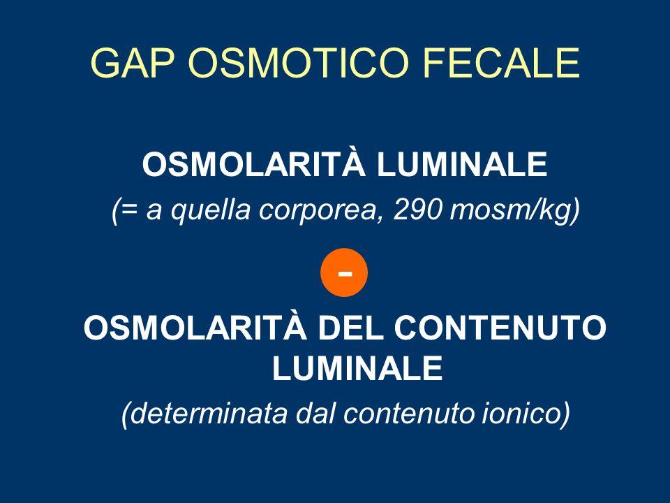 DIARREA OSMOTICA Eccessiva perdita di fluidi provocata da sostanze luminali che ritengono H2O –Carboidrati alimentari (LATTOSIO, FRUTTOSIO) o zuccheri con gruppo alcolico (MANNITOLO, LATTULOSIO) –Soluzioni contenenti ioni poco assorbibili (MAGNESIO, FOSFATO, SOLFATO) Bassa concentrazione di elettroliti fecali Osmolarità fecale elevata (>50 mOsm) Volume fecale 500-1000 ml/die