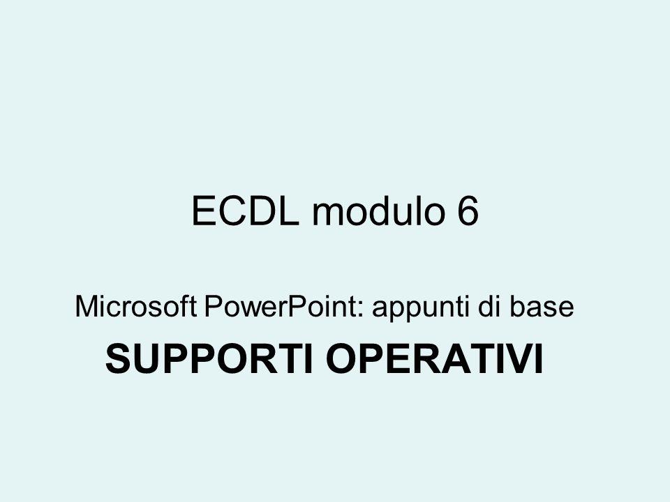 ECDL modulo 6 Microsoft PowerPoint: appunti di base SUPPORTI OPERATIVI