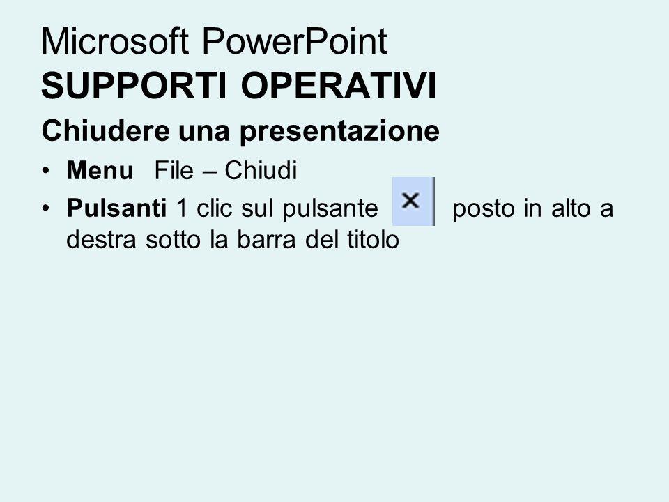 Microsoft PowerPoint SUPPORTI OPERATIVI Chiudere una presentazione Menu File – Chiudi Pulsanti 1 clic sul pulsante posto in alto a destra sotto la bar