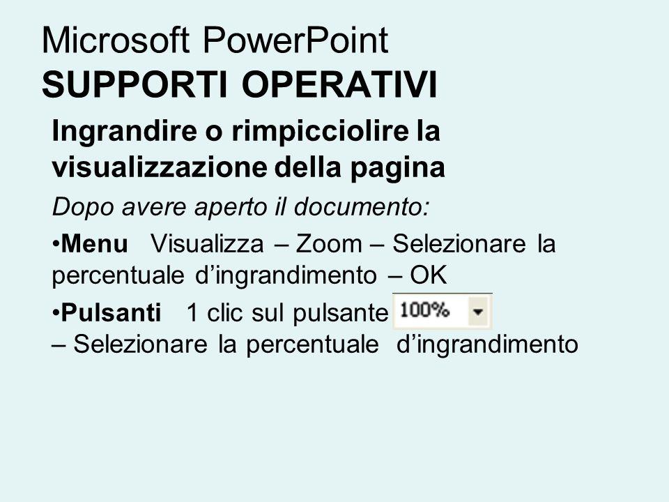 Microsoft PowerPoint SUPPORTI OPERATIVI Ingrandire o rimpicciolire la visualizzazione della pagina Dopo avere aperto il documento: Menu Visualizza – Z