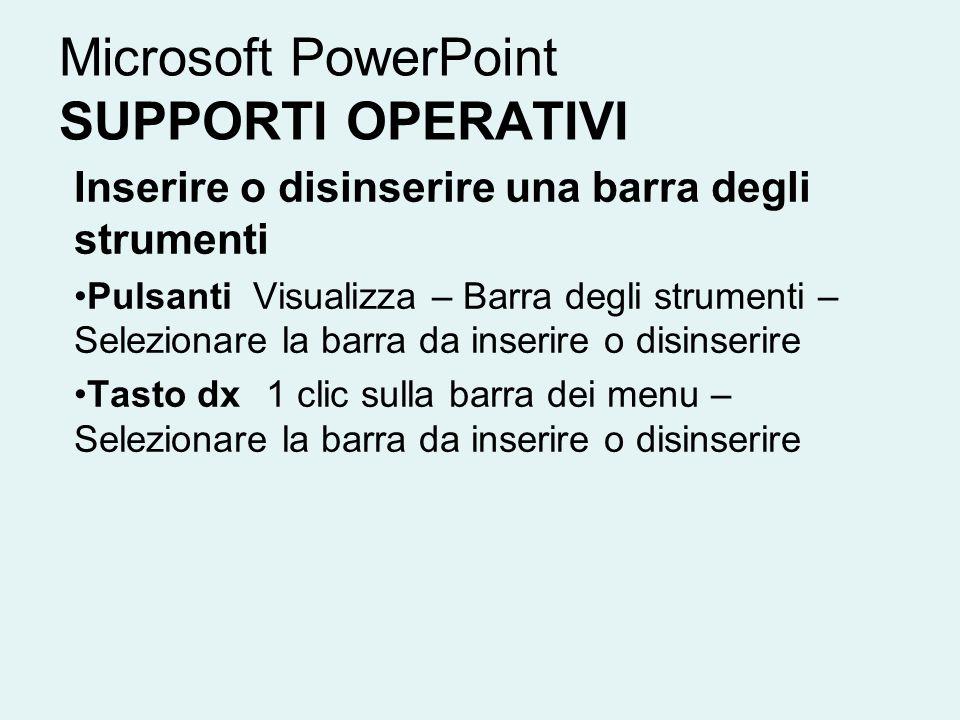 Microsoft PowerPoint SUPPORTI OPERATIVI Inserire o disinserire una barra degli strumenti Pulsanti Visualizza – Barra degli strumenti – Selezionare la