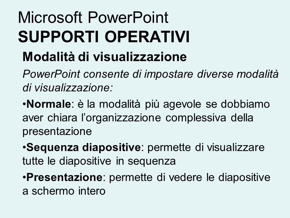 Microsoft PowerPoint SUPPORTI OPERATIVI Modalità di visualizzazione PowerPoint consente di impostare diverse modalità di visualizzazione: Normale: è l