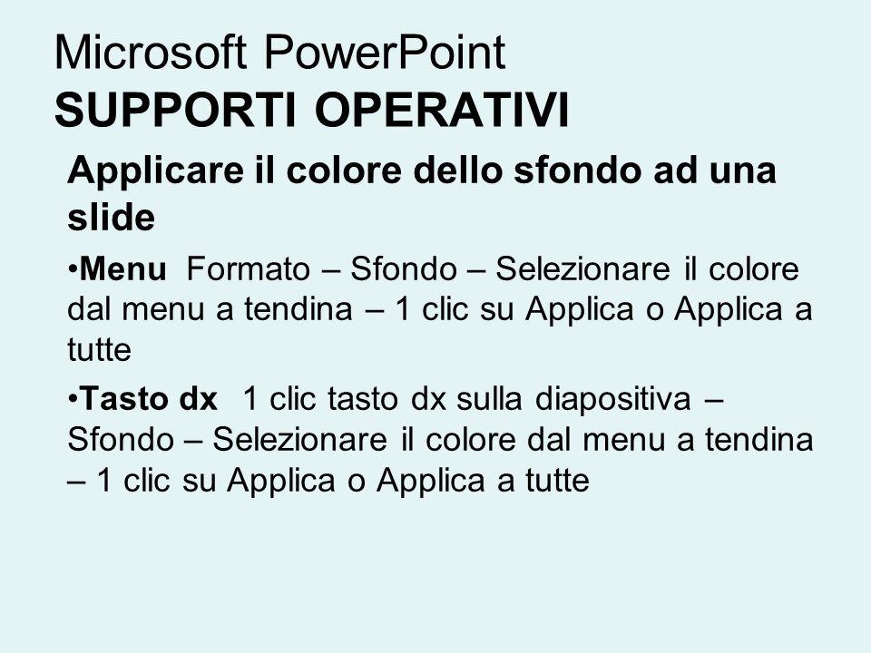 Microsoft PowerPoint SUPPORTI OPERATIVI Applicare il colore dello sfondo ad una slide Menu Formato – Sfondo – Selezionare il colore dal menu a tendina
