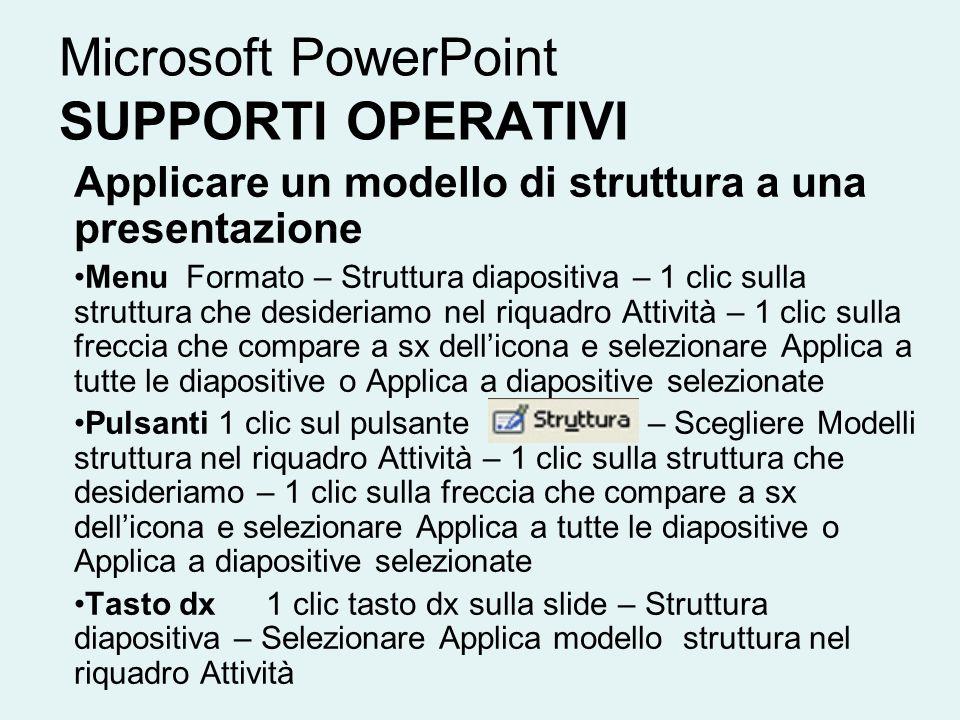 Microsoft PowerPoint SUPPORTI OPERATIVI Applicare un modello di struttura a una presentazione Menu Formato – Struttura diapositiva – 1 clic sulla stru