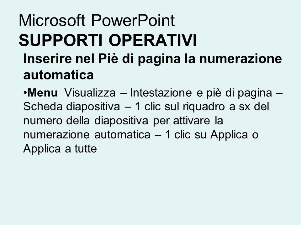 Microsoft PowerPoint SUPPORTI OPERATIVI Inserire nel Piè di pagina la numerazione automatica Menu Visualizza – Intestazione e piè di pagina – Scheda d