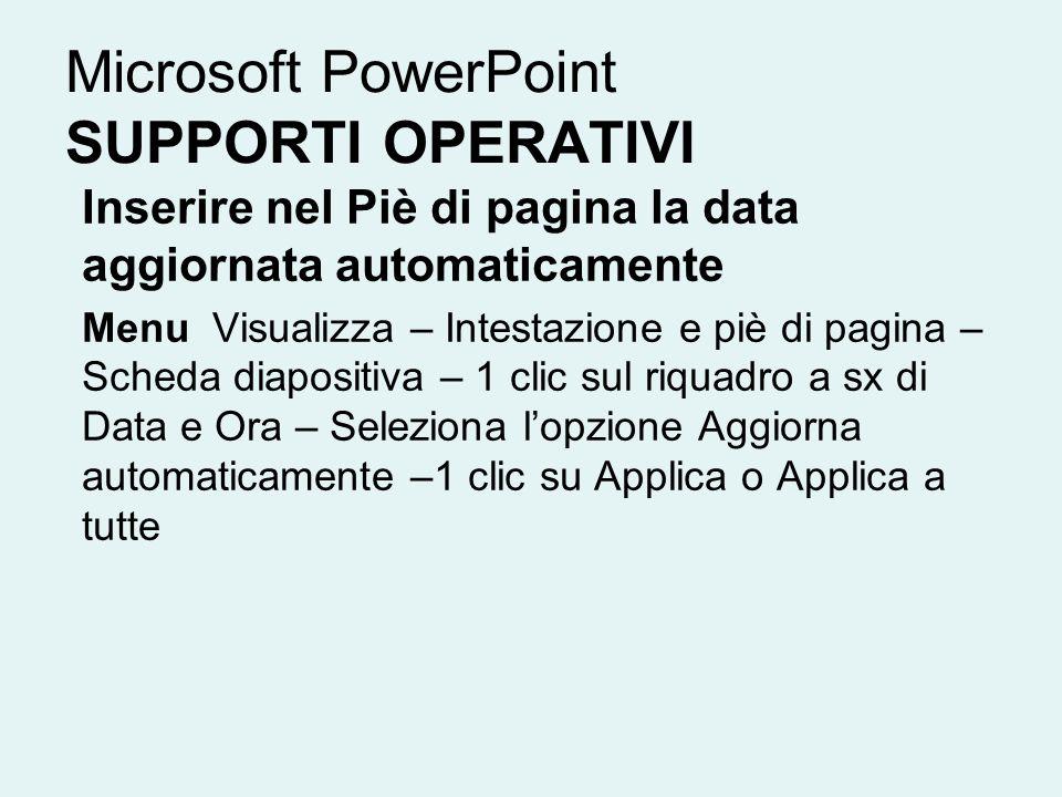 Microsoft PowerPoint SUPPORTI OPERATIVI Inserire nel Piè di pagina la data aggiornata automaticamente Menu Visualizza – Intestazione e piè di pagina –
