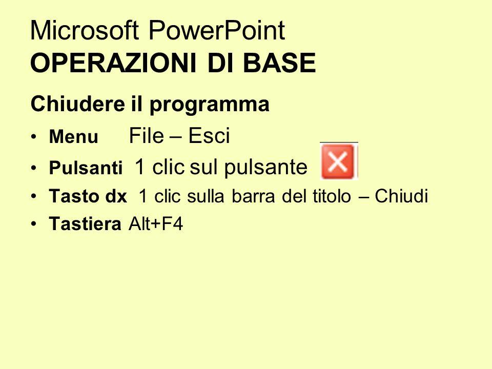 Microsoft PowerPoint OPERAZIONI DI BASE Chiudere il programma Menu File – Esci Pulsanti 1 clic sul pulsante Tasto dx 1 clic sulla barra del titolo – C