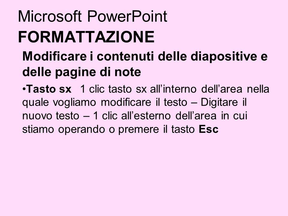 Microsoft PowerPoint FORMATTAZIONE Modificare i contenuti delle diapositive e delle pagine di note Tasto sx 1 clic tasto sx allinterno dellarea nella