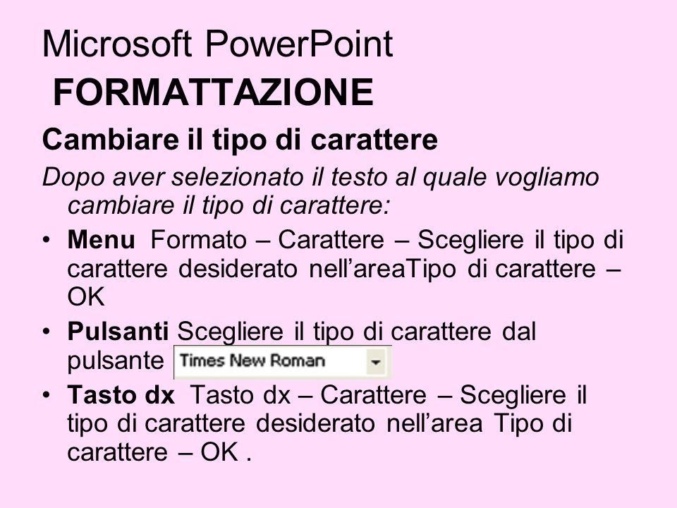 Microsoft PowerPoint FORMATTAZIONE Cambiare il tipo di carattere Dopo aver selezionato il testo al quale vogliamo cambiare il tipo di carattere: Menu