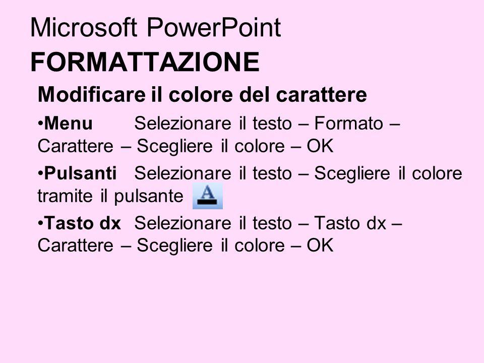Microsoft PowerPoint FORMATTAZIONE Modificare il colore del carattere Menu Selezionare il testo – Formato – Carattere – Scegliere il colore – OK Pulsa