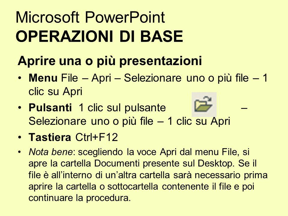 Microsoft PowerPoint OPERAZIONI DI BASE Aprire una o più presentazioni Menu File – Apri – Selezionare uno o più file – 1 clic su Apri Pulsanti 1 clic