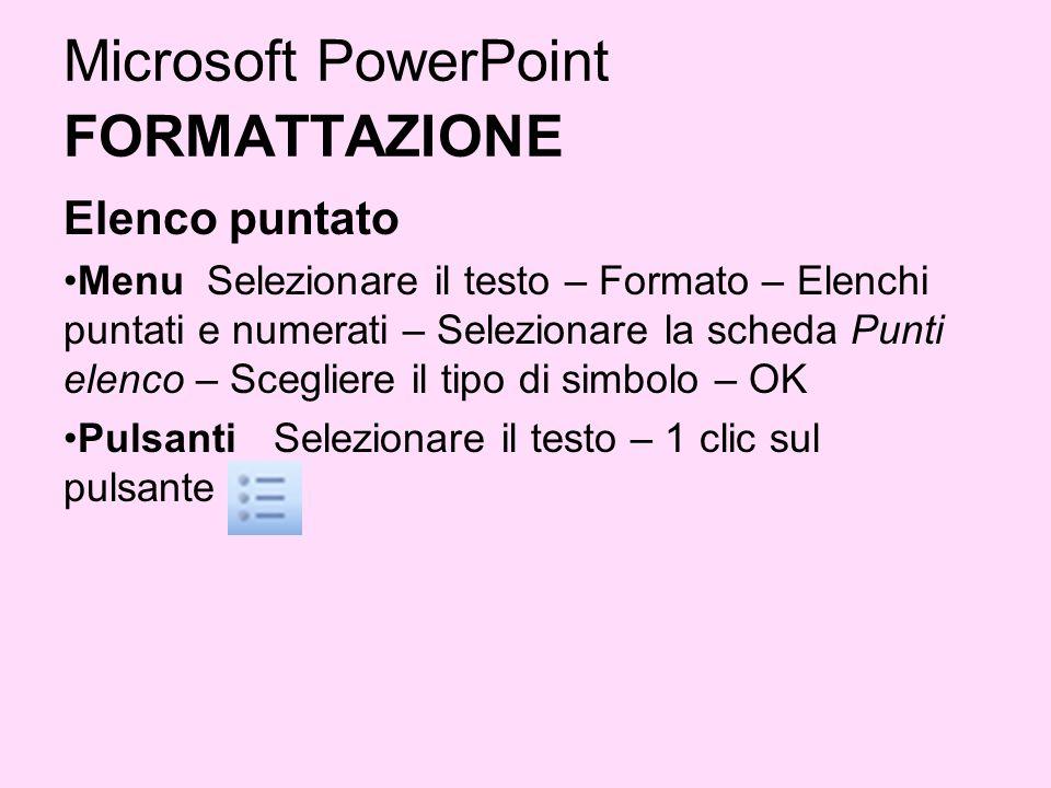 Microsoft PowerPoint FORMATTAZIONE Elenco puntato Menu Selezionare il testo – Formato – Elenchi puntati e numerati – Selezionare la scheda Punti elenc