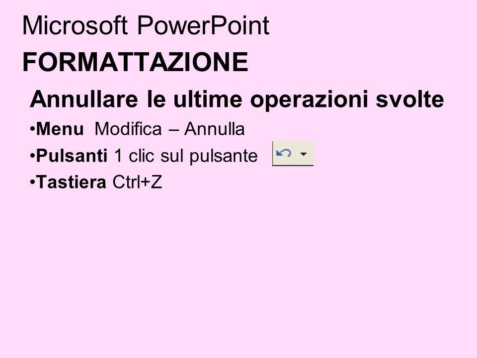 Microsoft PowerPoint FORMATTAZIONE Annullare le ultime operazioni svolte Menu Modifica – Annulla Pulsanti 1 clic sul pulsante Tastiera Ctrl+Z