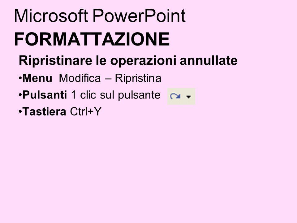 Microsoft PowerPoint FORMATTAZIONE Ripristinare le operazioni annullate Menu Modifica – Ripristina Pulsanti 1 clic sul pulsante Tastiera Ctrl+Y