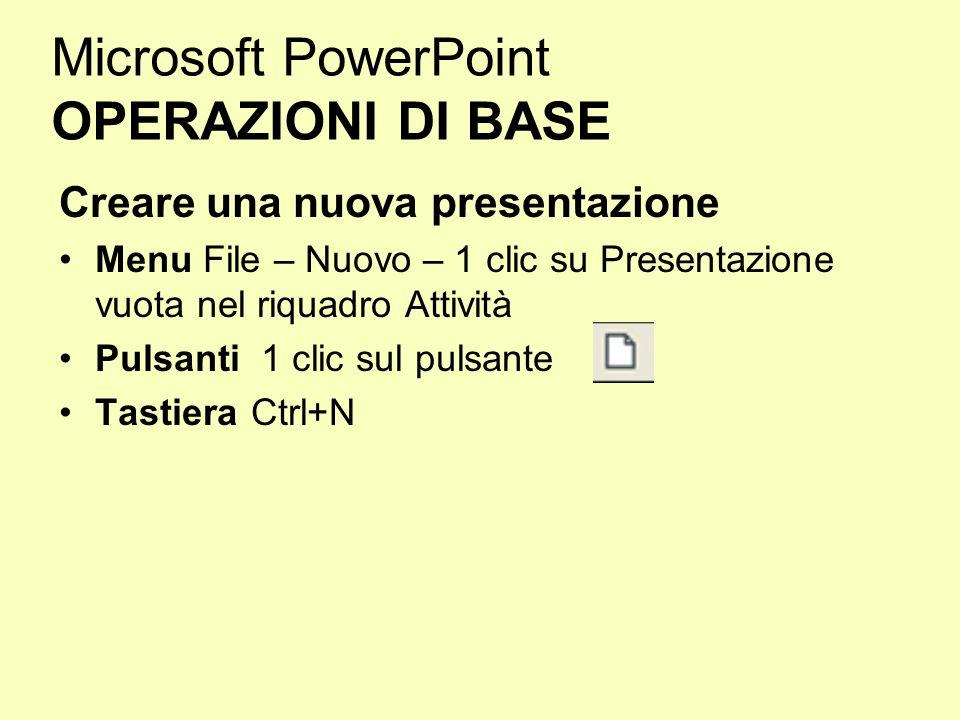 Microsoft PowerPoint OPERAZIONI DI BASE Creare una nuova presentazione Menu File – Nuovo – 1 clic su Presentazione vuota nel riquadro Attività Pulsant