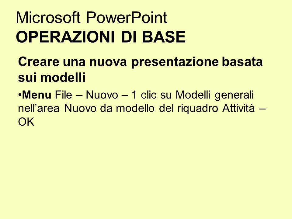 Microsoft PowerPoint OPERAZIONI DI BASE Creare una nuova presentazione basata sui modelli Menu File – Nuovo – 1 clic su Modelli generali nellarea Nuov